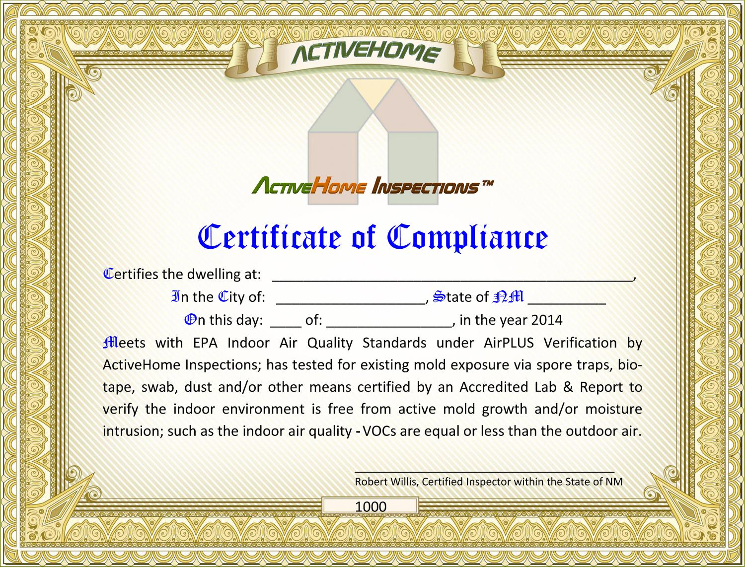 Certificate of compliance home inspections and environmental testing certificate of compliance altavistaventures Images
